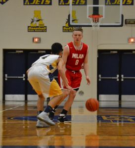 Trevor Ballard (0) led Milan with 22 points in Tuesday's win over New Boston Huron. (File photo)